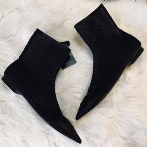 Zara Black Flat Dotted Mesh Ankle Boots Size 6.5